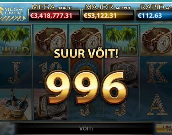 Kasiinotest: palju võidab 10 euroga Mega Fortune Dreams slotikal?